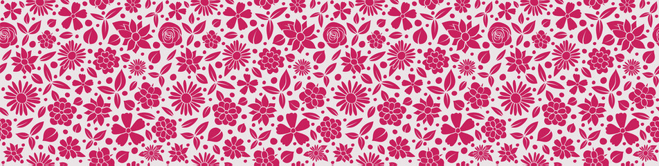 Beautiful floral banner - panoramic header with seamless pattern. Vector.