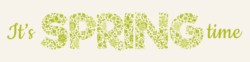 Spring - banner with textured text in retro style. Vector.