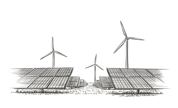 Alternative sources of energy (wind, solar) hand drawn sketch. Vector.