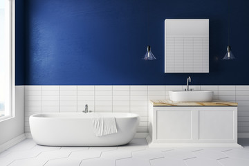 Blue bathroom with copy space