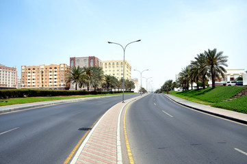 An empty road at the noon time