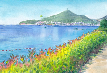 Watercolor painting, Montenegro landscape (Budva city)