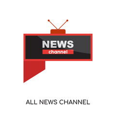 all news channel logo isolated on white background for your web, mobile and app design