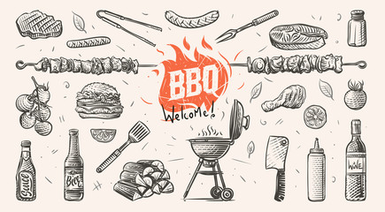 Barbeque related things hand drawn illustration. Vector.