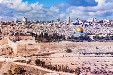 Jerusalem old city panorama at sunny day