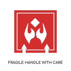 fragile handle with care logo isolated on white background for your web, mobile and app design