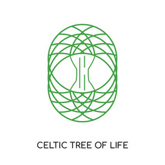 celtic tree of life logo isolated on white background for your web, mobile and app design