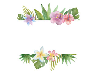 Watercolour banner with tropical plants on white background.
