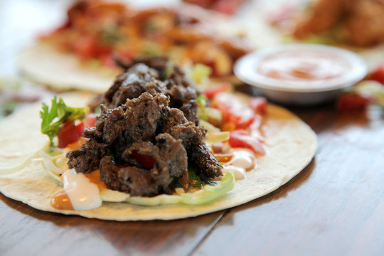 Beef steak tortilla wrap