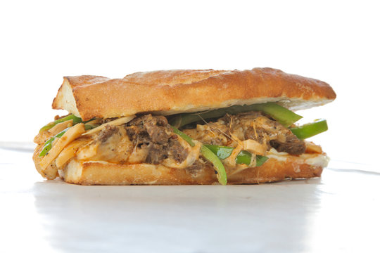 Philly beef steak cheese sandwich on white