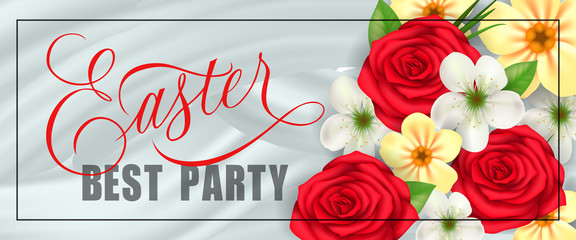 Easter, best party festive banner design with frame and bunch of flowers. Calligraphic inscription can be used for greeting cards, banners, invitations.