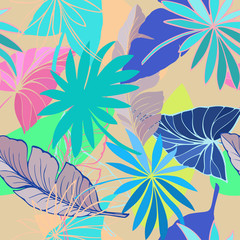 vector seamless beautiful artistic bright tropical pattern with banana, Syngonium and Dracaena leaf, summer beach fun, colorful original stylish floral background print, fantastic forest