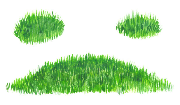 Template background with bright green meadow and two extra patches of grass painted in watercolor on clean white background