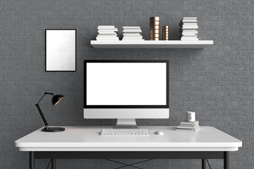 Modern workspace, isolated computer screen and frame mock up. 3D illustrating.