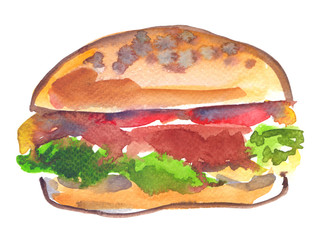 Single big abstract hamburger with green lettuce painted in watercolor on clean white background