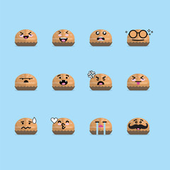 Smile emoji emoticon face in bread with a lot of variation