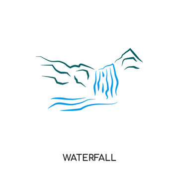 waterfall logo isolated on white background for your web, mobile and app design