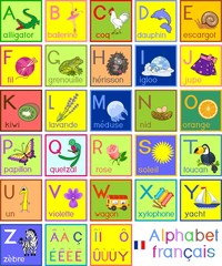 Colorful French alphabet with pictures and titles for children education