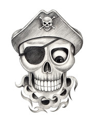 Art Pirate Skull Tattoo. Hand pencil drawing  on paper.