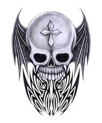 Art Wings devil Skull Tattoo. Hand pencil drawing on paper.