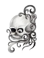 Art Skull Tattoo. Hand pencil drawing on paper.