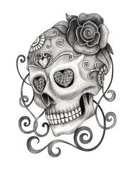Art Sugar Skull Tattoo. Hand pencil drawing on paper.