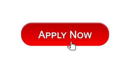 Apply now web interface button clicked mouse cursor, red color, employment