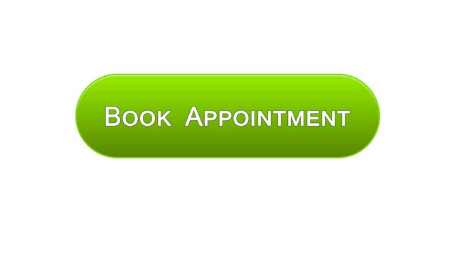 Book appointment web interface button green color, meeting date, calendar