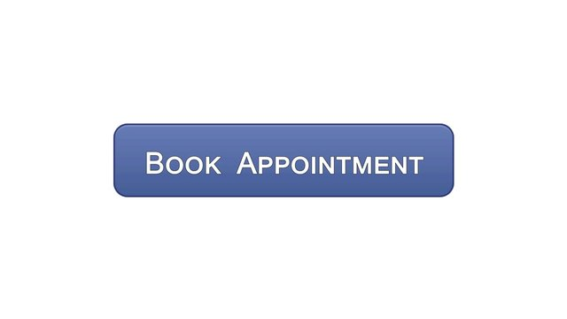 Book appointment web interface button violet color, meeting date, calendar