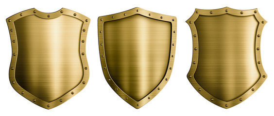 Wall Mural - Gold or bronze metal medieval shields 3d illustration