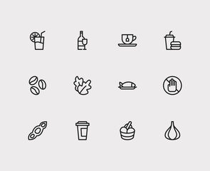 Garlic and nutrition icons set with soy, juice and coffee bean. Set of nutrition icons including tuna sign for your web app logo UI design.