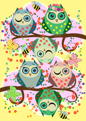Bright, cartoonish, flirtatious, loving owls on the flowering branches of a tree. Spring, summer, girlfriends