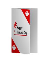 Grußkarte in rot-weiß mit Blättern zum Nationalfeiertag. 3d Render