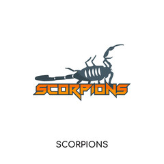 scorpions logo isolated on white background for your web, mobile and app design