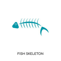 fish skeleton logo isolated on white background for your web, mobile and app design