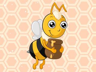 Fleißige Comic Honig Biene