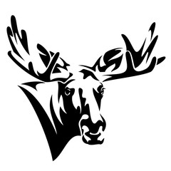 moose head front view black and white vector design