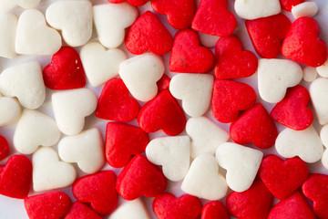 Small candy hearts, closeup