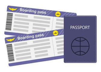 Passport and boarding passes isolated on white background. Travel concept illustration, vector, flat style.