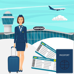 Travel concept with stewardess woman in blue uniform with suitcase, flight tickets, passport, airport building, airplane in the sky on background. Vector illustration.