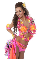 Happy, beautiful woman of Hawaii. Smile. Hula. Isolated white background. Costume party.