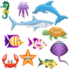 Set of underwater animals. Dolphin, shark, turtle, crab,star, jellyfish,seahorse,fishes. Sea and ocean fauna. Vector illustration.