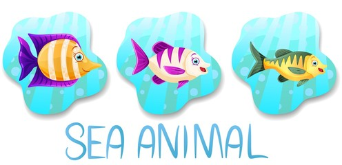 Set of underwater animals.Fish set coloured on blue water background. Sea and ocean fauna.Vector illustration.