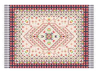 Oriental rug with traditional ornament. Persian carpet. Vector illustration