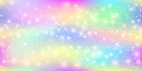 Holographic magic background with fairy sparkles, stars and blurs.