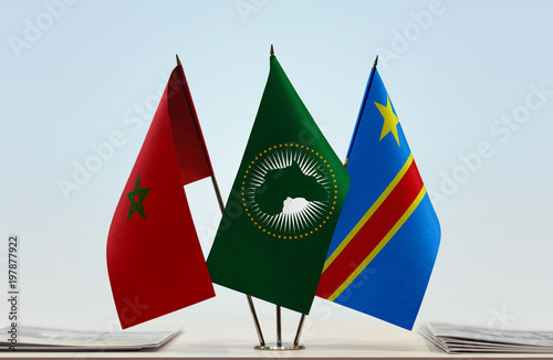 Flags of Morocco African Union and Democratic Republic of
