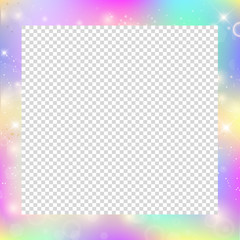 Magic frame with rainbow mesh and space for text.