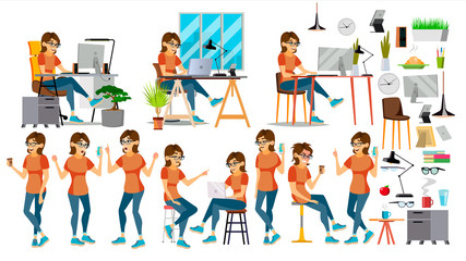 Business Woman Character Vector. In Action. IT Startup Business Company. Environment Process. Planning. Cartoon Illustration