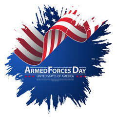 Armed forces day template poster design. Vector illustration background for Armed forces day.