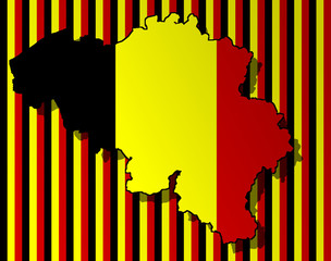 Illustration of a Belgian flag with a contour of border